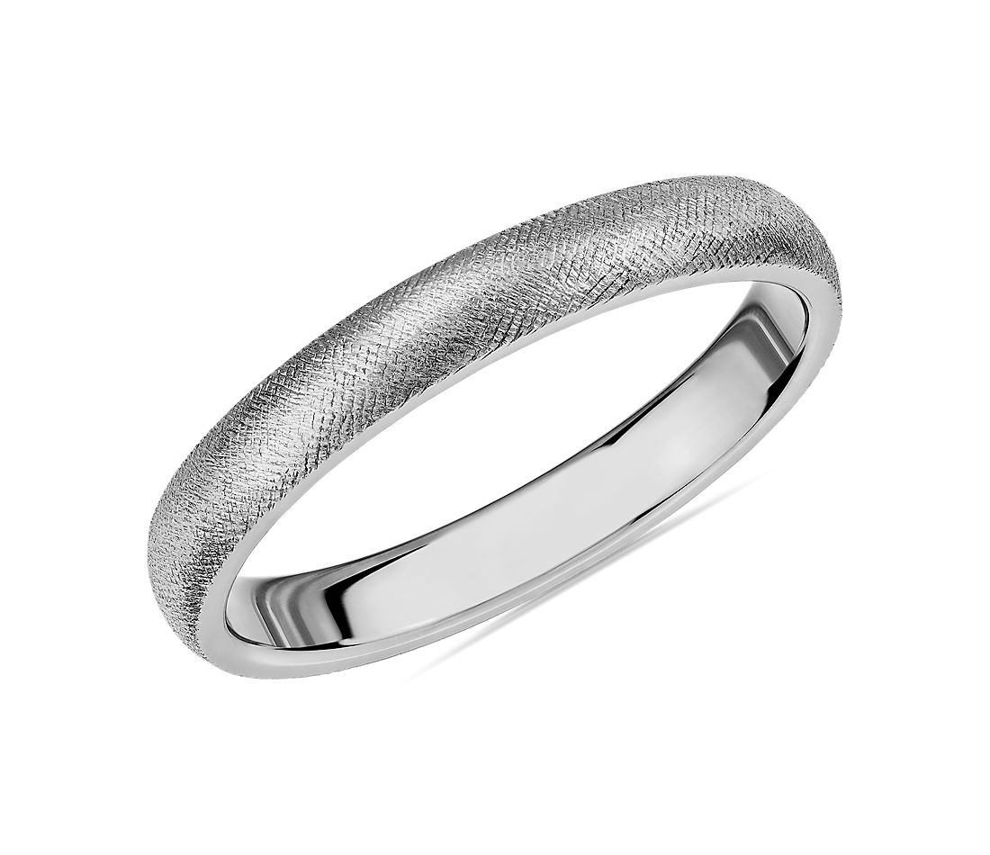 Florentine Wedding Band in 14k White Gold (3mm)