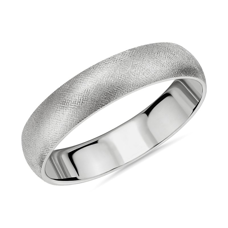 Florentine Wedding Band in 14k White Gold (5mm)