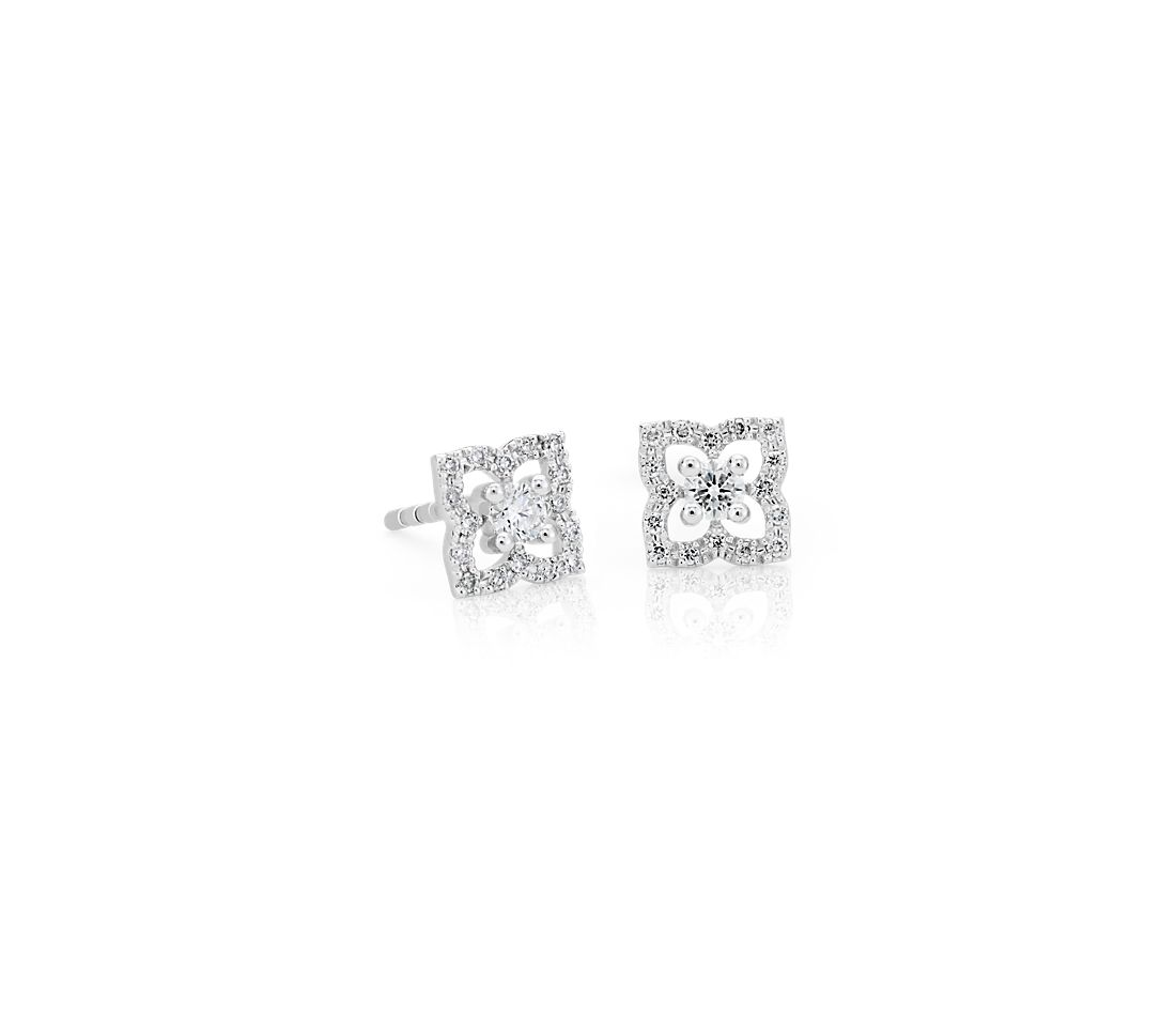 Petite Diamond Floral Stud Earrings in 14k White Gold (0.22 ct. tw.)