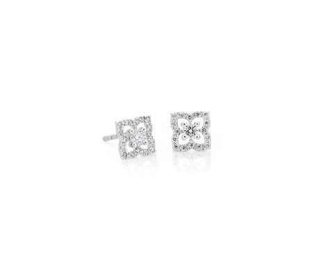 Blue Nile Diamond Circular Floral Stud Earring in 14k White Gold (1/4 ct. tw.) LOHMljqYIP