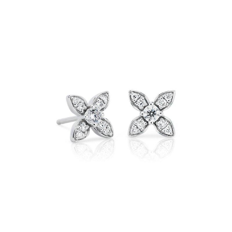 Petite Diamond Floral Stud Earrings in 14k White Gold (1/5 ct. tw