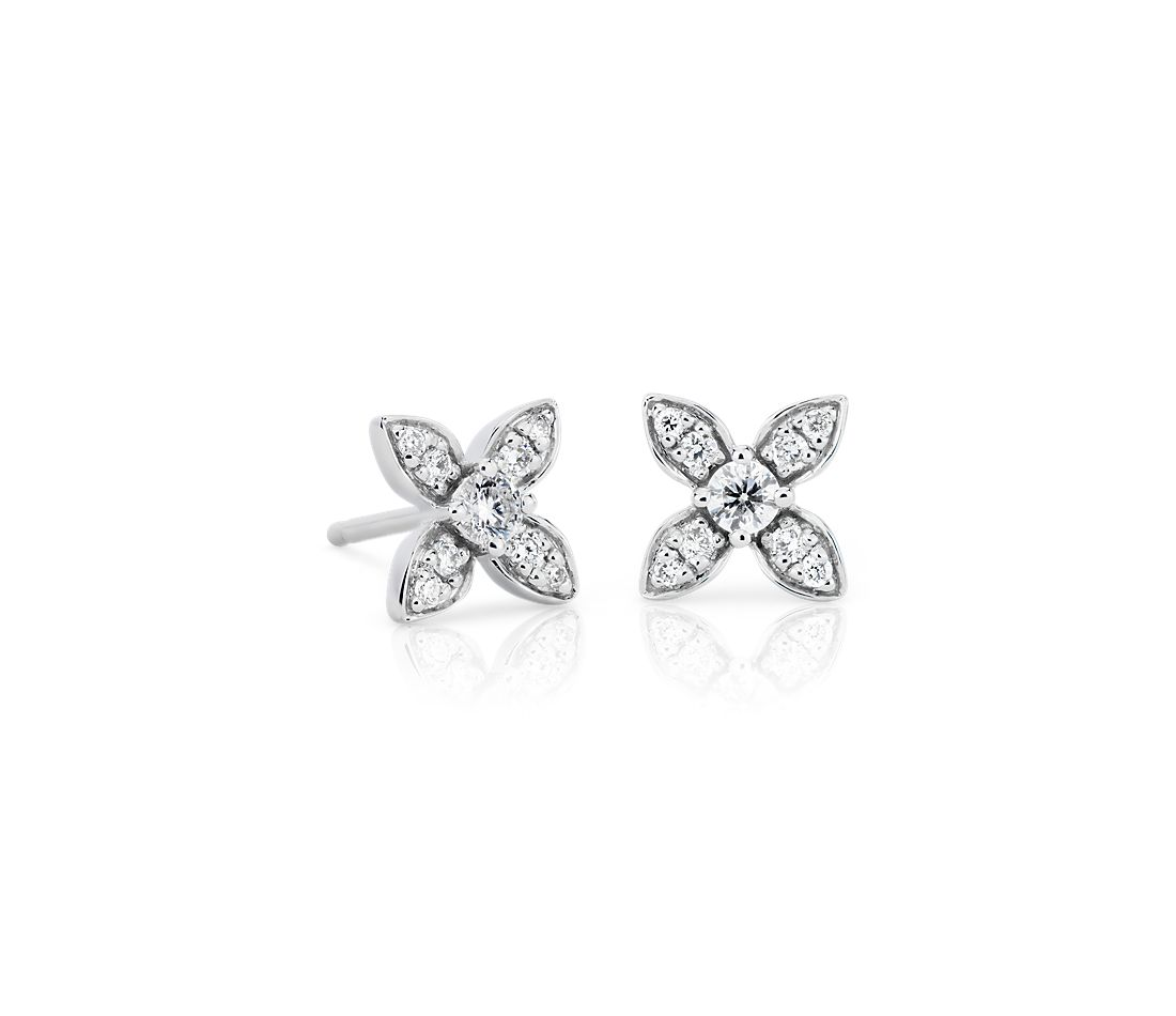 Petite Diamond Floral Stud Earrings in 14k White Gold (1/5 ct. tw.)