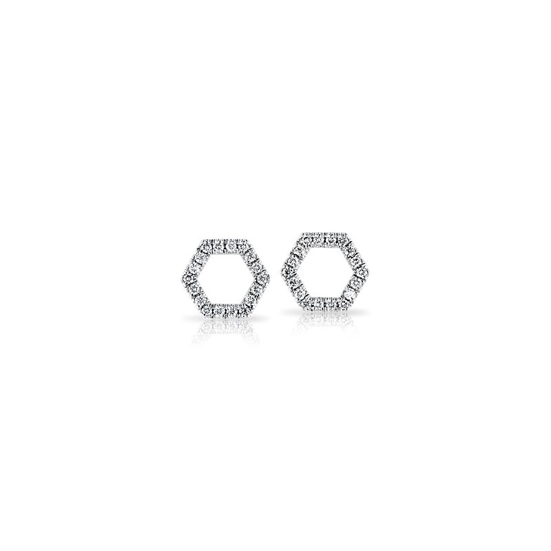 Diamond Hexagon Pave Stud Earrings in 14k White Gold (1/10 ct. tw