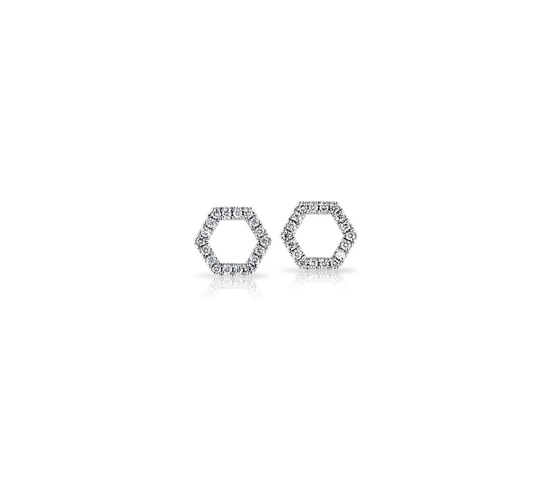 Diamond Hexagon Pave Stud Earrings in 14k White Gold (1/10 ct. tw.)