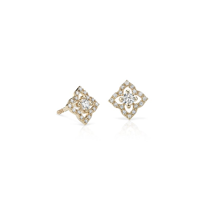 Petite Diamond Floral Stud Earrings in 14k Yellow Gold (1/4 ct. t