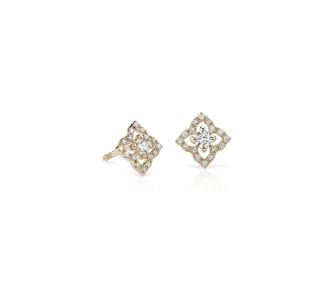 Pee Diamond Fl Stud Earrings In 14k Yellow Gold 1 4 Ct Tw Blue Nile