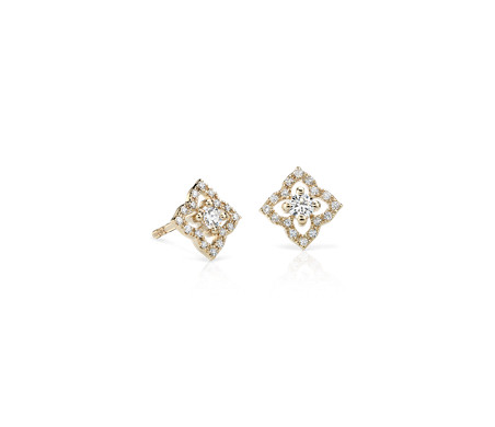 Petite Diamond Floral Stud Earrings in 14k Yellow Gold (0.22 ct. tw.)