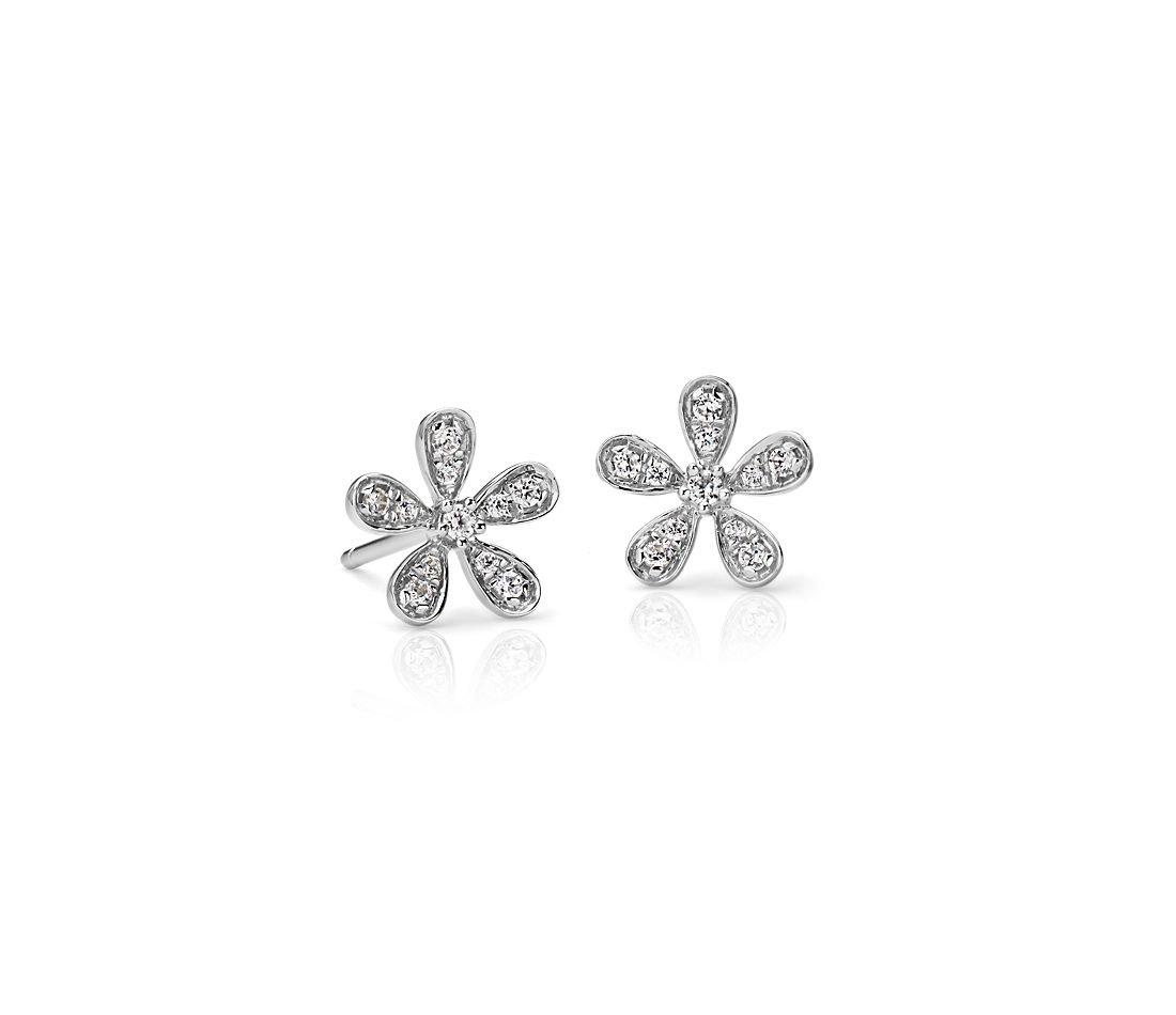Diamond Flower Stud Earrings In 14k White Gold 1 10 Ct
