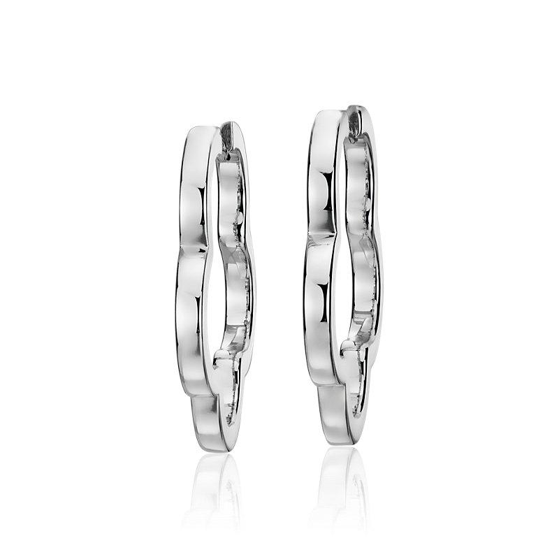 """Flower Hoop Earrings in Sterling Silver (1"""")"""