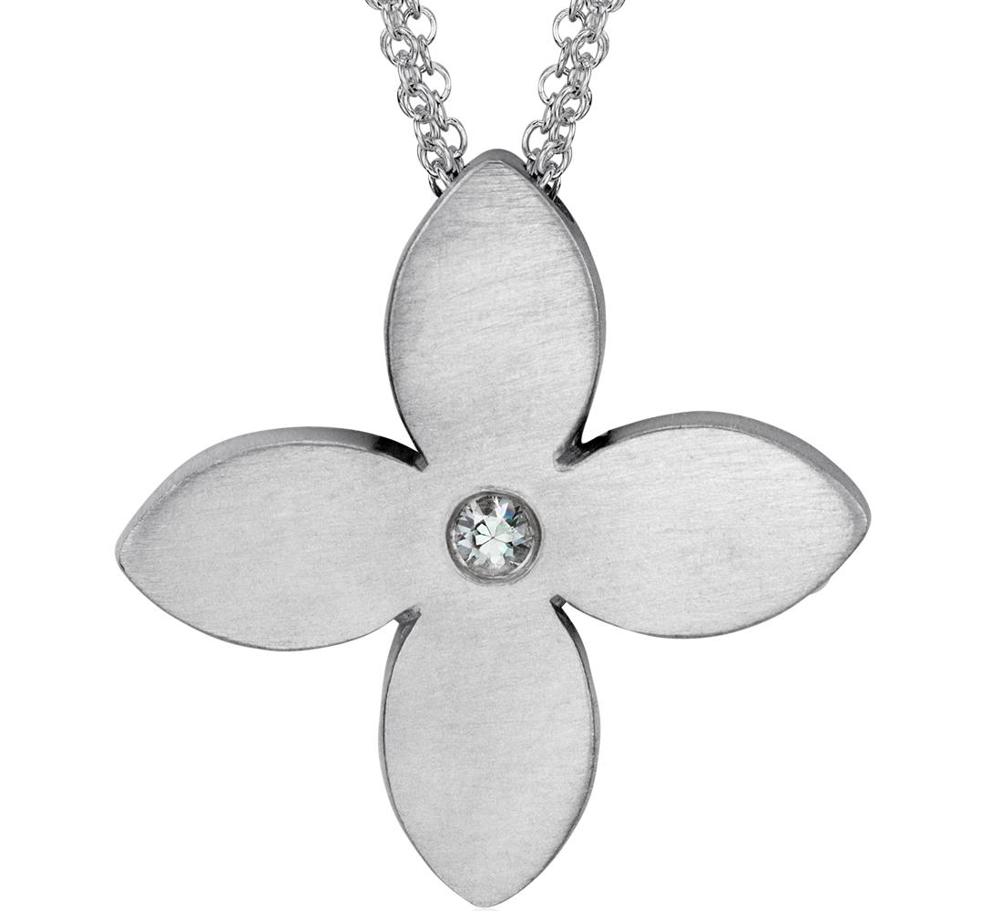 Colgante con forma de flor en plata de ley satinada