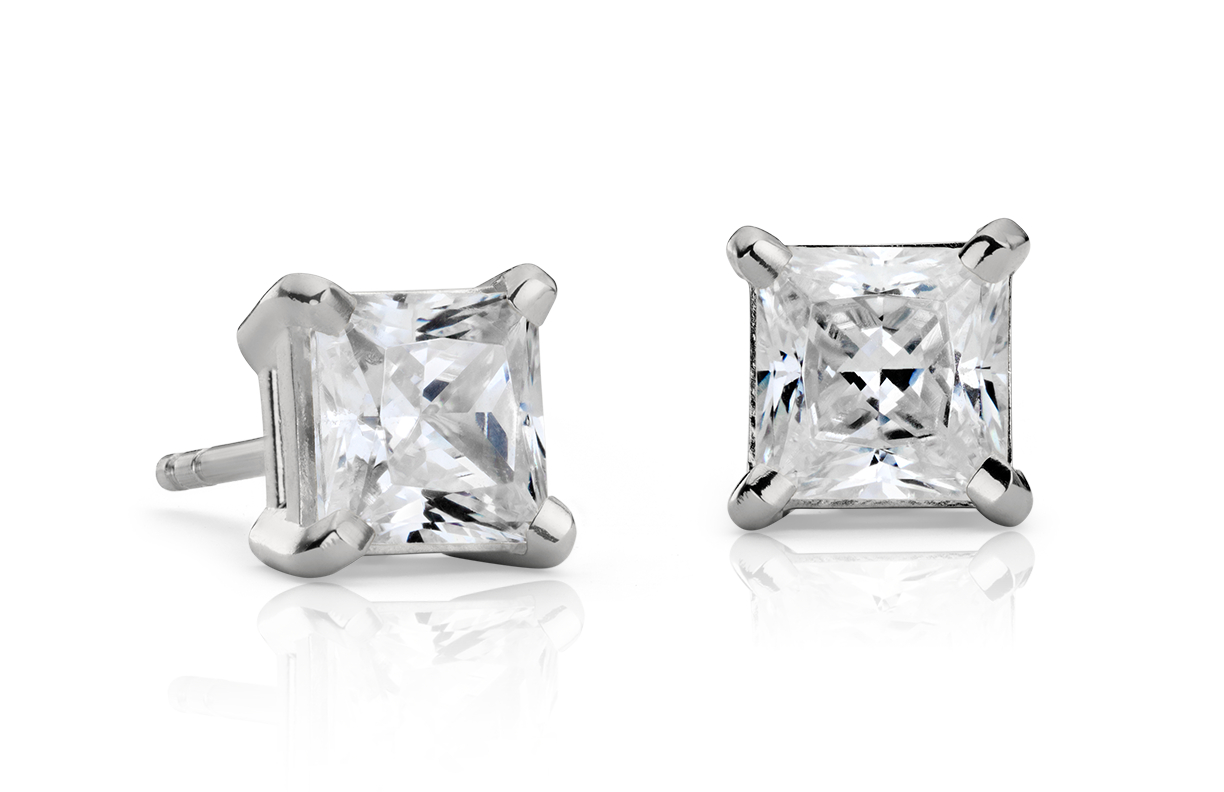 14k White Gold Four-Claw Square Earring Setting