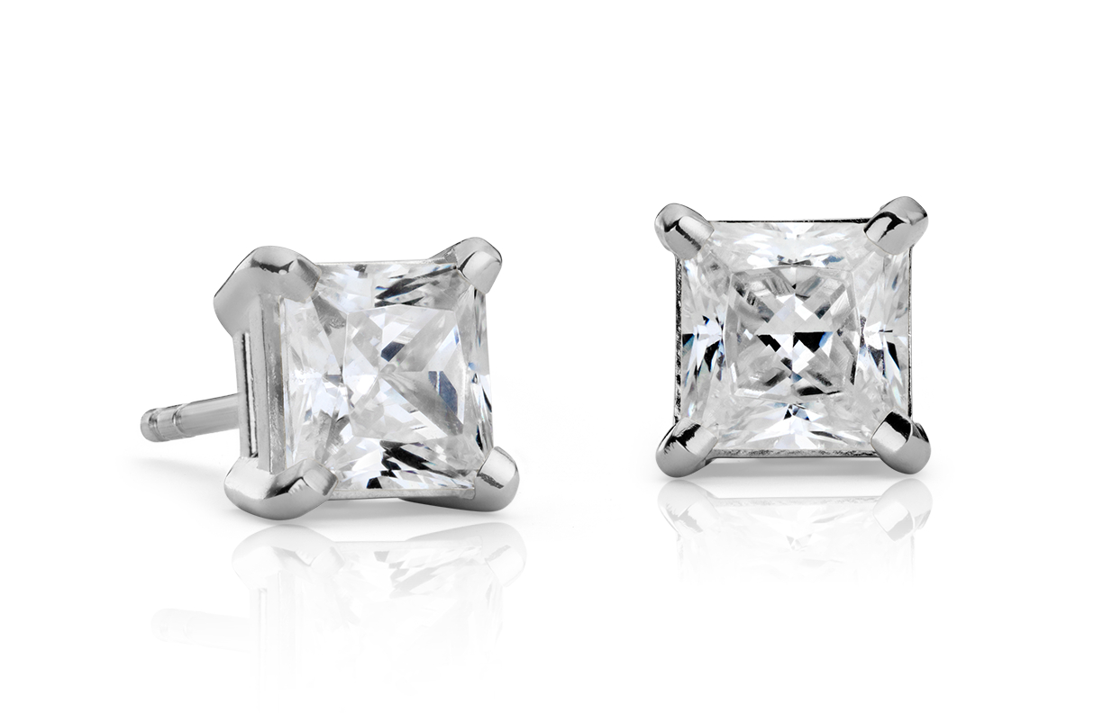 18k White Gold Four-Claw Square Earring Setting