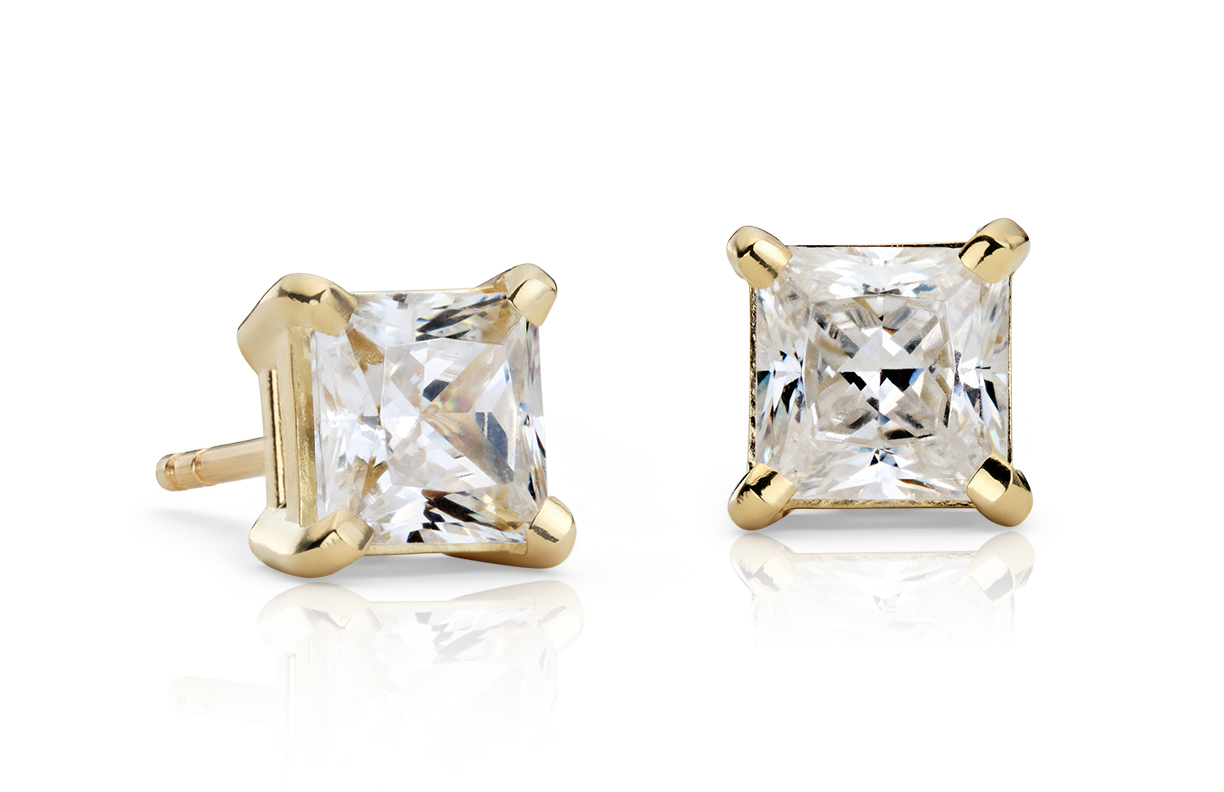 18k Yellow Gold Four-Claw Square Earring Setting
