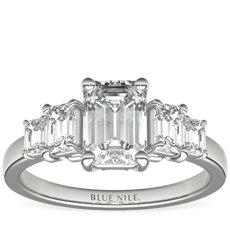 铂金四石祖母绿钻石订婚戒指