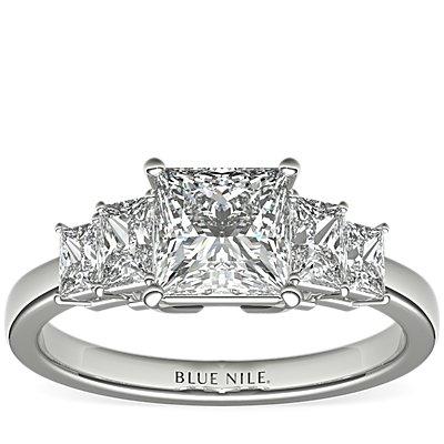 铂金四石方形闪亮钻石订婚戒指<br>(1 克拉总重量)