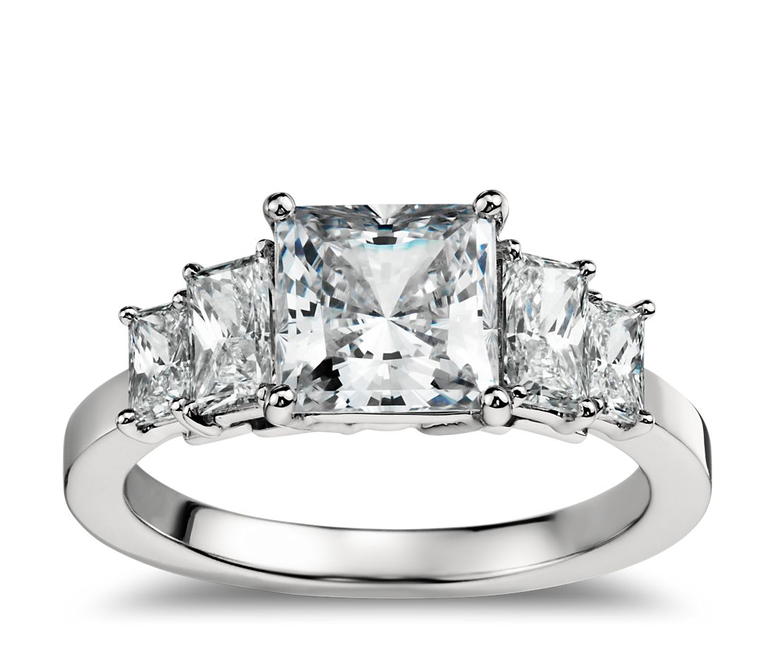Four Stone Square Brilliant Diamond Engagement Ring In Platinum Blue