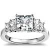 Four Stone Square Brilliant Diamond Engagement Ring in Platinum