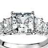 Four Stone Square Brilliant Diamond Engagement Ring in Platinum