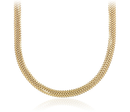 Four Strand Chain Choker Necklace in Yellow Gold Vermeil