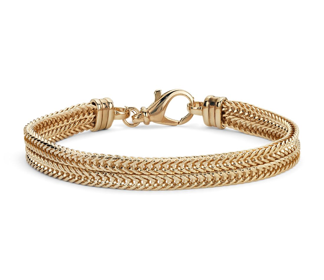 Two Row Foxtail Bracelet in Gold Vermeil