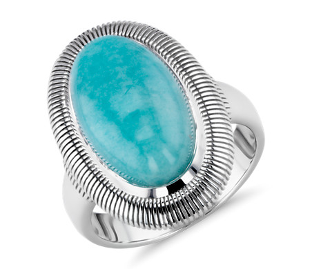 Frances Gadbois Cabochon Amazonite Ring with Strie Detail in Sterling Silver (15x9mm)