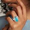 925 纯银纹饰细节磨光凸圆天河石戒指<br>(15x9毫米)