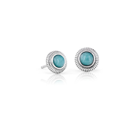Amazonite Strie Stud Earrings in Sterling Silver