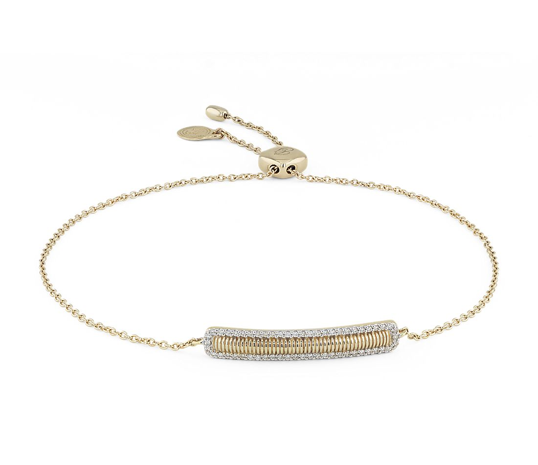 Petite Bar Bracelet with Diamond Halo in 14k Yellow Gold