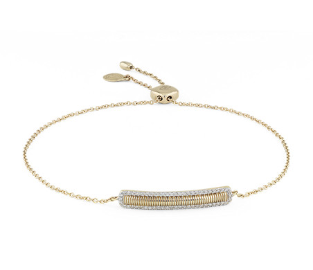 Petit bracelet barre avec halo de diamants Frances Gadbois en or jaune 14 carats