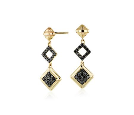 Aretes colgantes de diamantes negros de Frances Gadbois en oro amarillo de 14k (1/3 qt. total)