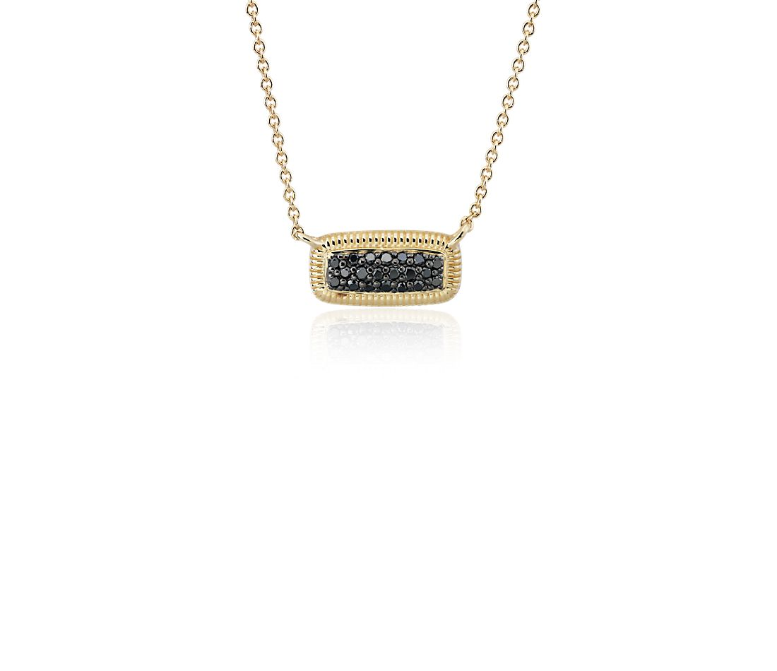 Black Diamond Pave Bar Necklace in 14k Yellow Gold (1/7 ct. tw.)