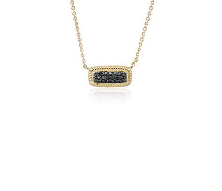Frances Gadbois Black Diamond Pave Bar Necklace in 14k Yellow Gold (1/7 ct. tw.)