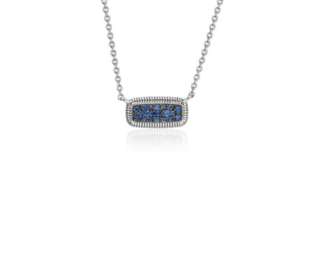 Blue Sapphire Pave Strie Pendant in Sterling Silver