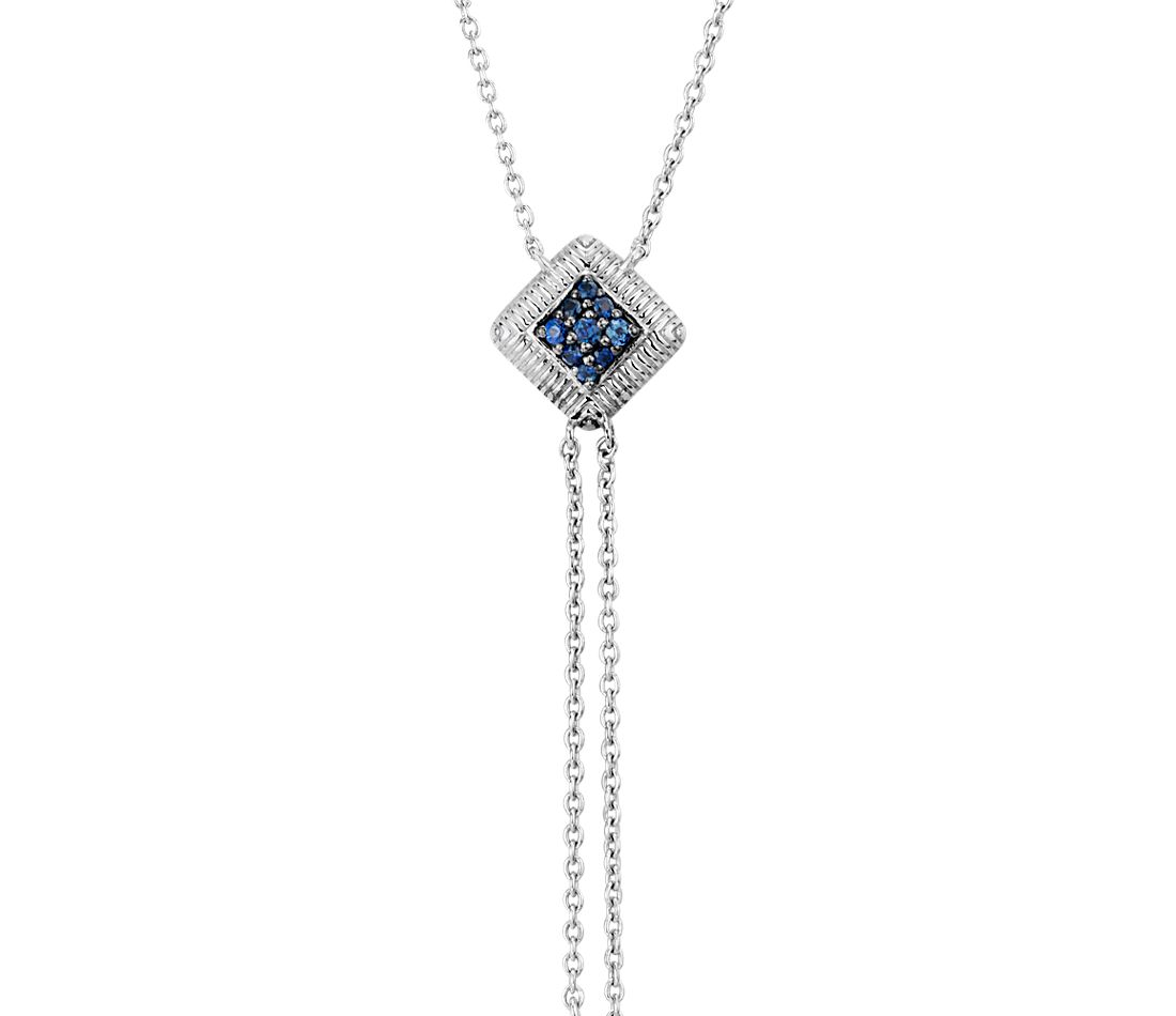 Blue Sapphire Pave Lariat in Sterling Silver