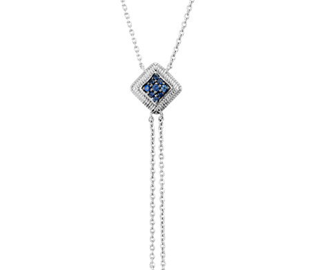 Blue Sapphire Pave Lariat in 925 纯银