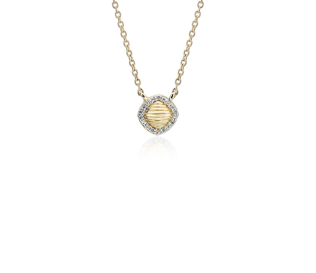 Frances Gadbois Petite Cushion Strie Pendant with Diamond Halo in 14k Yellow Gold