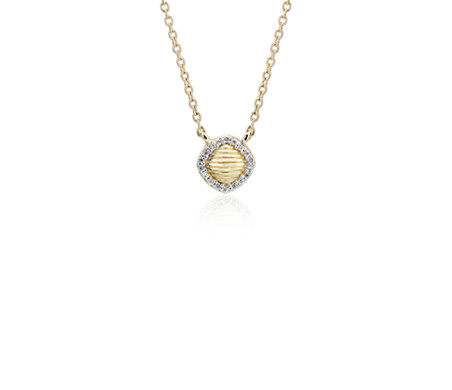 Blue Nile Frances Gadbois Petite Cushion Strie Pendant with Diamond Halo in 14k Yellow Gold 1FDg4Wk