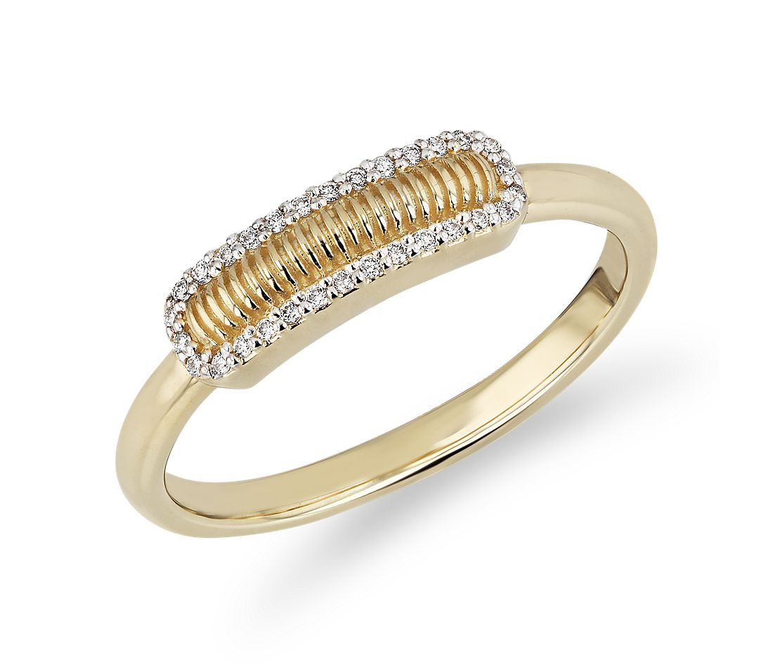 Strie Bar Ring with Diamond Halo in 14k Yellow Gold