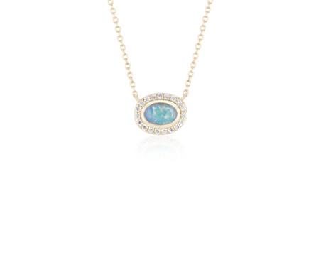 Frances gadbois petite opal pendant with diamond halo in 14k yellow frances gadbois petite opal pendant with diamond halo in 14k yellow gold 6x4mm aloadofball Images