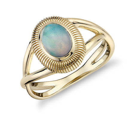 Opal Ring with Strie Halo in 14k Yellow Gold