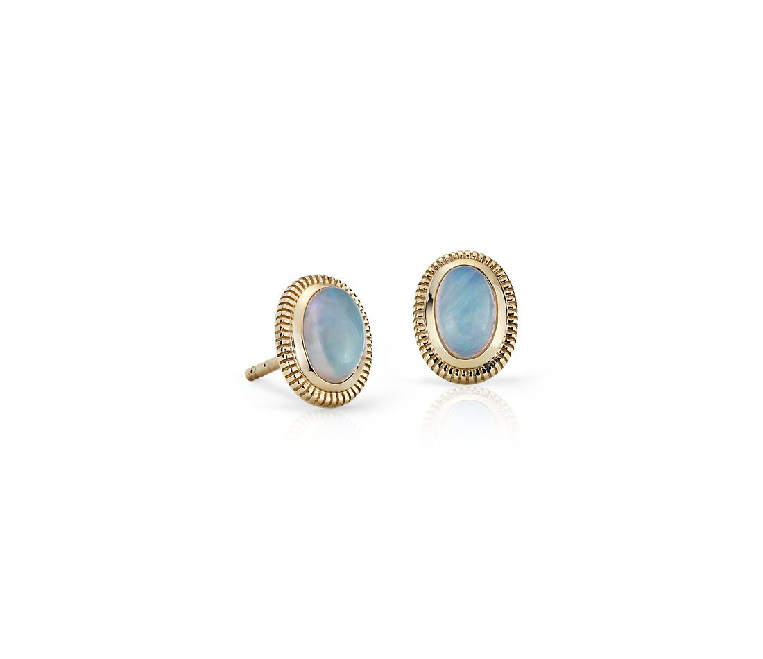 Opal Stud Earrings with Strie Halo in 14k Yellow Gold (6x4mm)