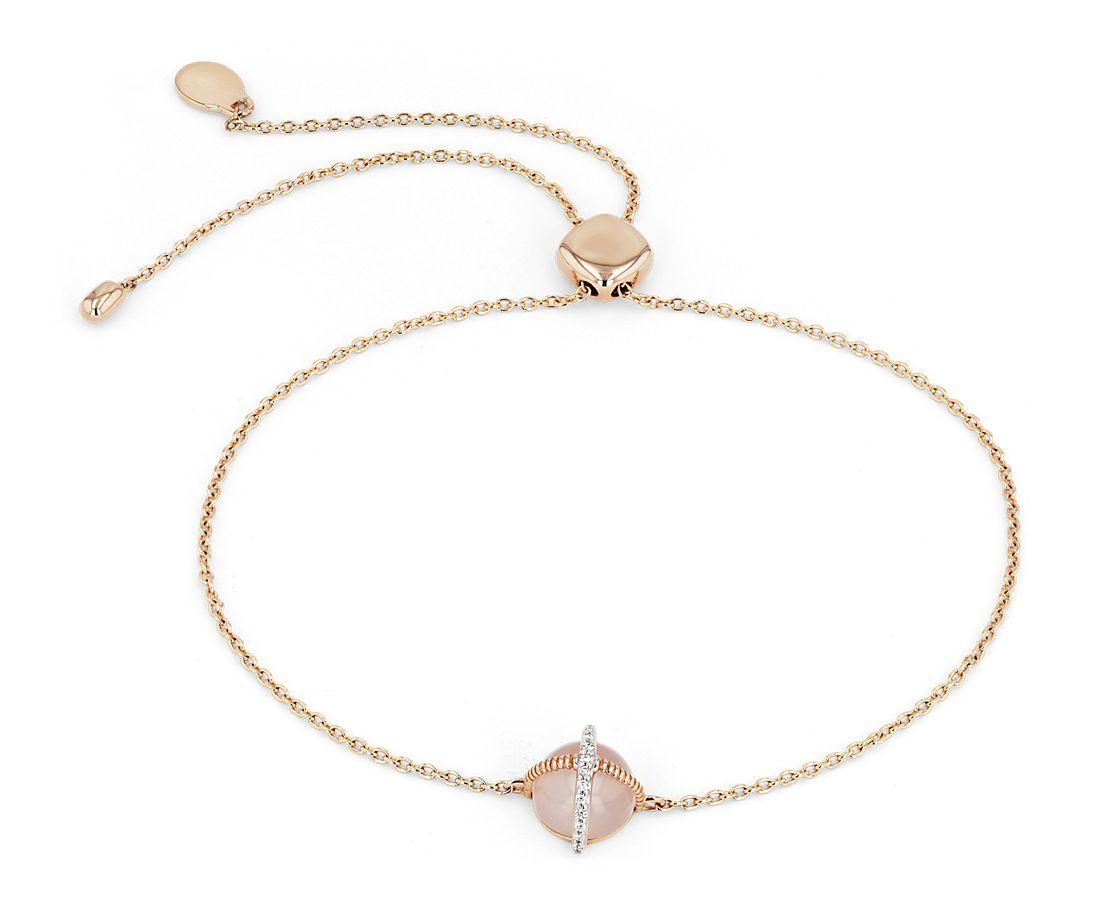14k 玫瑰金钻石点缀磨光凸圆玫瑰石英手链