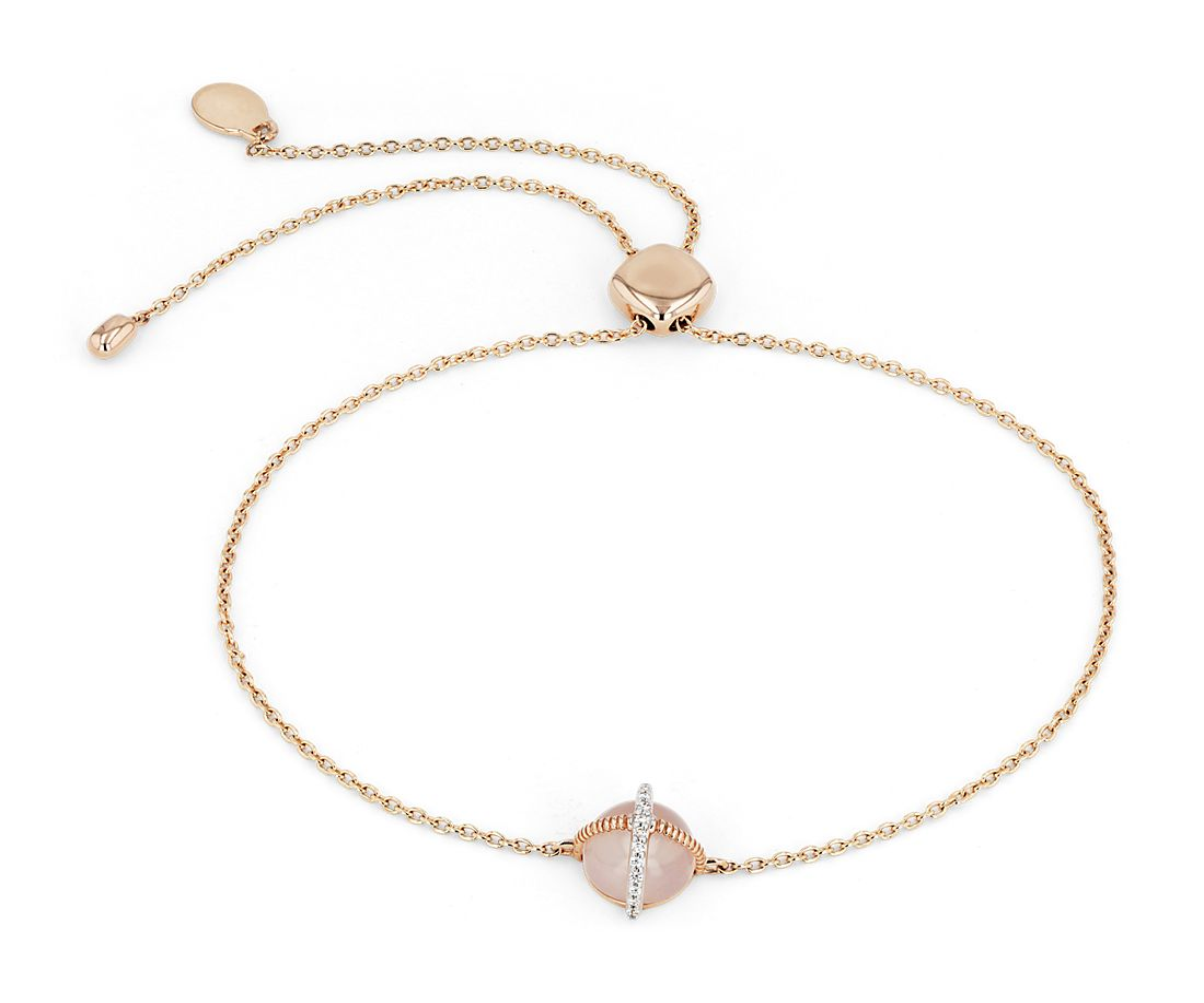 Rose Quartz Cabochon Bracelet with Diamond Detail in 14k Rose Gold