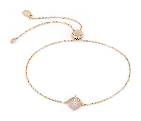 Rose Quartz Cabochon Bracelet with Diamond Detail in 14k Rose Gold