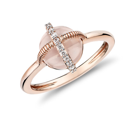 Rose Quartz Cabochon Ring with Diamond Detail in 14k Rose Gold