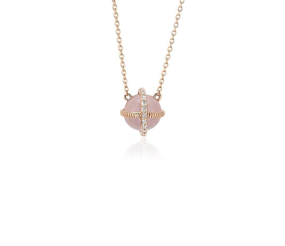 Rose Quartz Cabochon Pendant with Diamond Detail in 14k Rose Gold