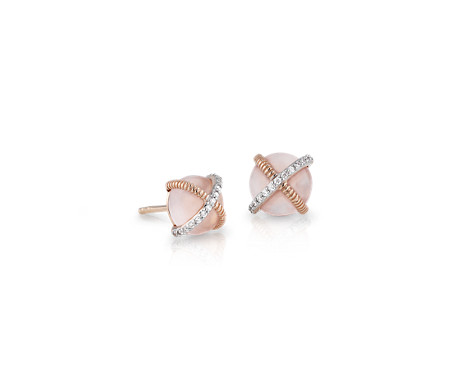 Rose Quartz Cabochon Stud Earrings with Diamond Detail in 14k Rose Gold