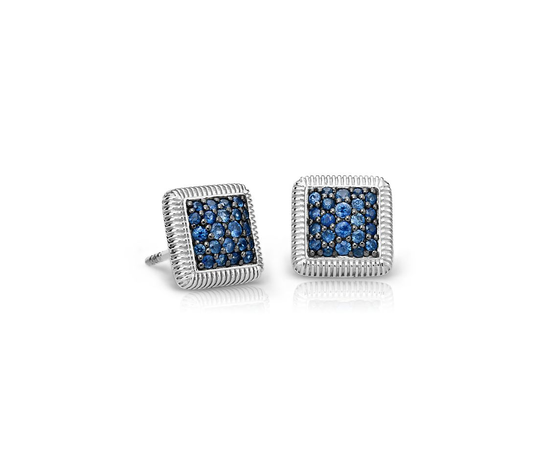 Sapphire Pave Strie Stud Earrings in Sterling Silver