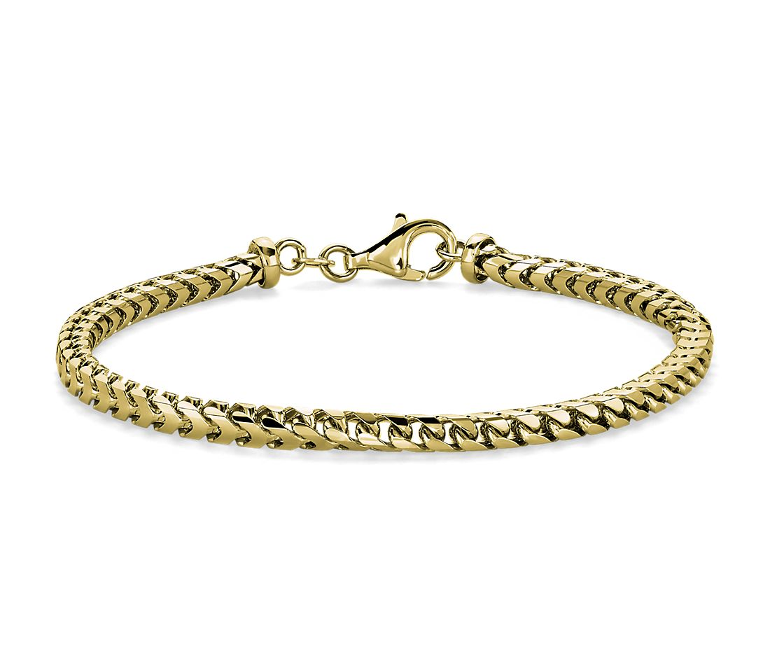 Men's Franco Chain Bracelet in 14k Italian Yellow Gold