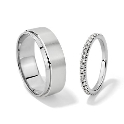 French Pavé Diamond Eternity and Asymmetrical Matte and Polished Set in Platinum